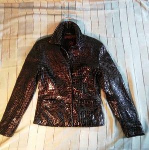 Oscar Leopold croc embrosed patent leather jacket